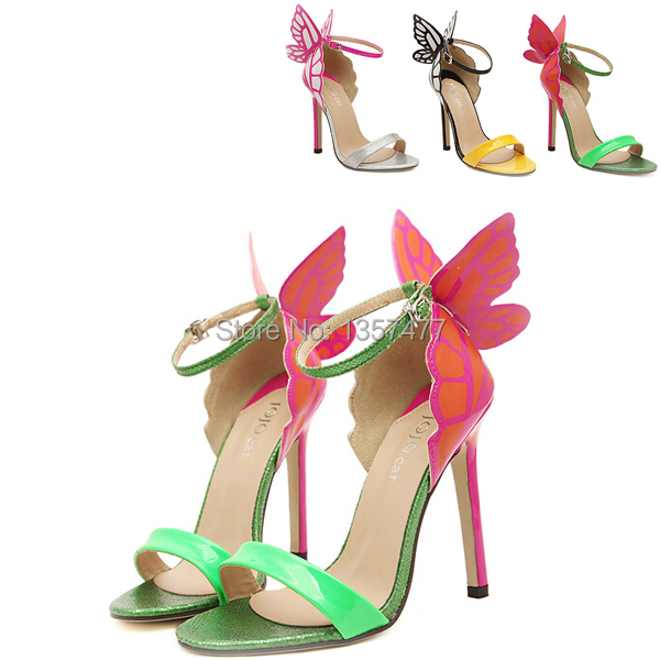 Butterfly Shoes.Lady Shoe.Pumps.High Heels.Neon Shoe.Platform High Heels.Sapatos Femininos 2014.Sexy Heel.Footwear.Red Sole - Rosa Fashion Shoes CO.,Ltd store