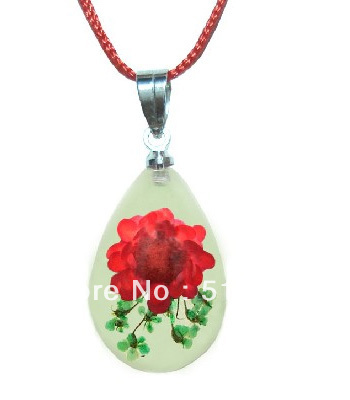 Glow Dark,Real Red Flower Resin Tear Drop Necklace Pendant Fashion Jewelry,High Quality,Birthday Gift, - LOTUS INCENSE WAY store