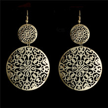 Bohemia Style 1pair 18K Gold Plated Hollow Round Dangle Earrings 2 Colors For Women(China (Mainland))