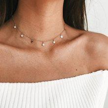 Bohème lune étoile cristal coeur collier ras du cou pour femmes collier pendentif sur cou Chocker collier bijoux cadeau(China)