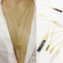 Summer Jewelry 2016 New Hotselling Gold Chain Fashion Geometric Pendant faux Stone Multi Layer Necklace Gold for Women(China (Mainland))