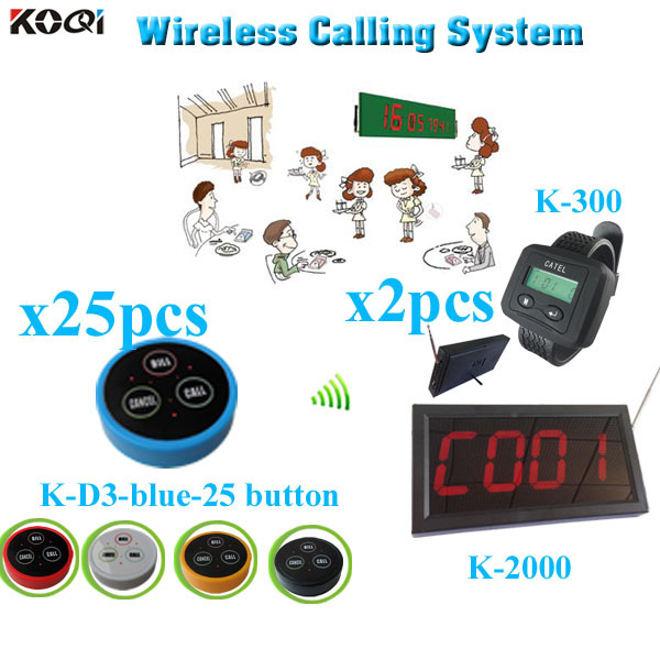 Wireless Waiter Calling System lower price made in China strong signal (1 display receiver+ 2 watch +25 table bell button)(China (Mainland))