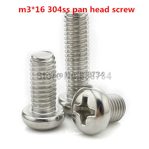 100PCS m3*16 a2 70 304 stainless steel cross recessed pan head machine screw<br><br>Aliexpress