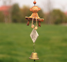 Creative Resin Lovely Animal Shape 1 Copper Alloy Bells Antirust Hemp Rope Wind Chimes Outdoor Indoor Yard Hangings Gifts
