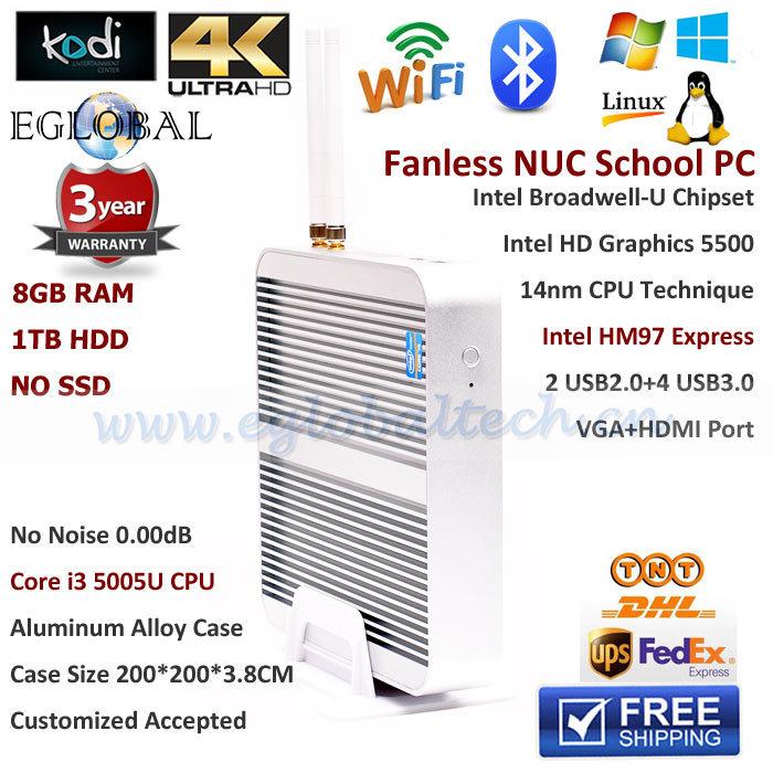 HTPC Living Room Computer Mini PC Windows Linux With 8GB RAM 1TB HDD Intel Core i3 5005U Support XBMC 3D Game 4K HD Fanless PC(China (Mainland))