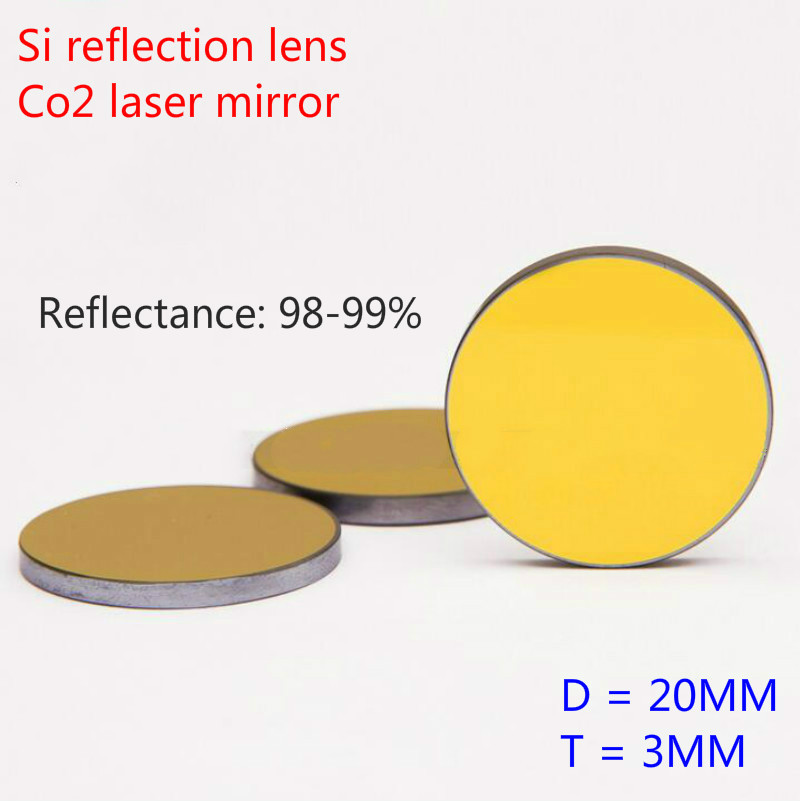 1PC Co2 Laser Reflector Cutting Engraving Machine Accessories Laser Machine Mirror Si 20MM Dia 3 MM Thick Reflectance 98-99%(China (Mainland))