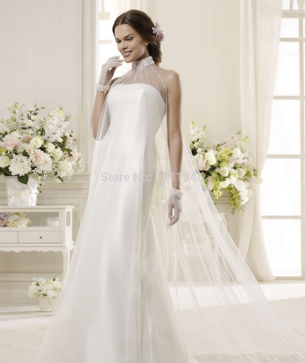 A line dresses for cheap romantic slim fit satin wedding for Backless satin wedding dress