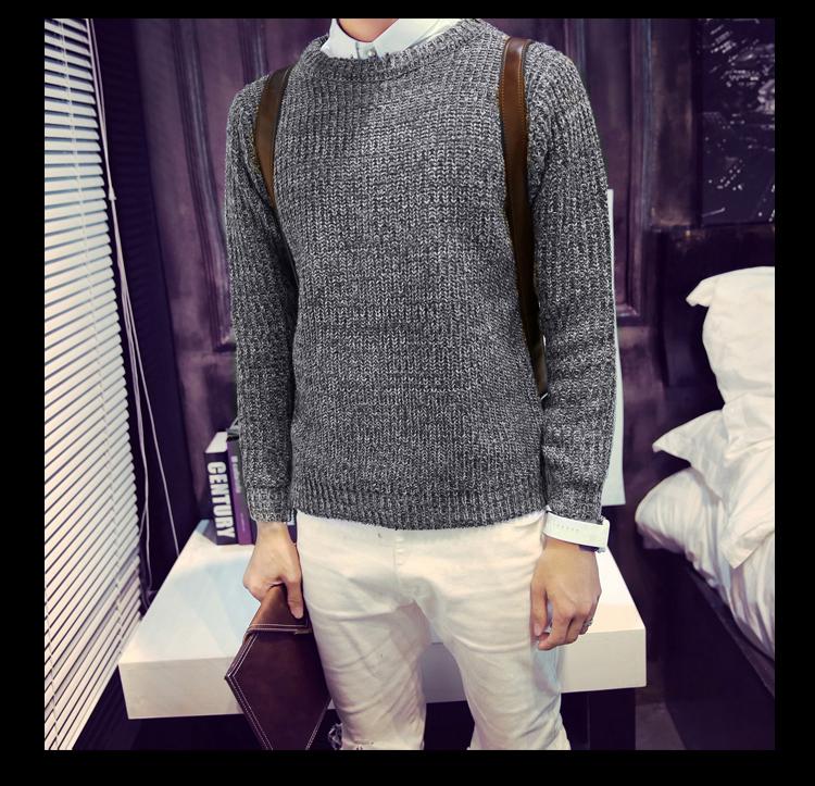 Fall Winter Men s Japanese retro sweater Korean Slim round neck pullover sweater male thickening LCM259