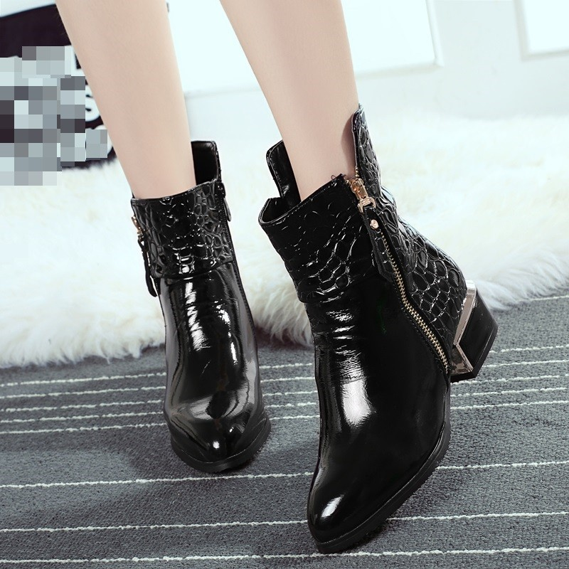 Martin Boots For Women 2015 Fashion Sleeve Boots Tip Patent Leather Shoes Black Short Tube Middle Heel Shoes Women Ankle Boots