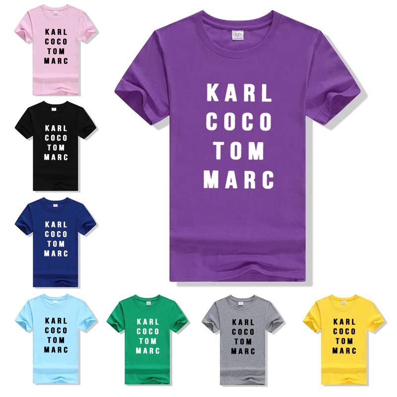 Plus size Women Punk Tshirts Letter Printed karl coco tom marc White T shirt 2016 Summer Cotton Short Sleeve Casual T-shirt(China (Mainland))
