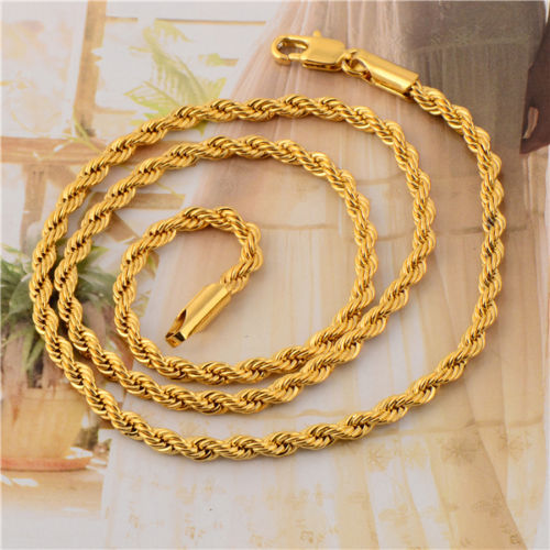 Wholesale Twisted Long18K Gold Plated Men's Rope Chain Necklace Length:60CM Width:4mm Free Shipping(China (Mainland))