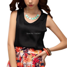 Allegra K Lady V Neck Sleeveless Loose Imitation Silk Tank Top Short Women Black(China (Mainland))