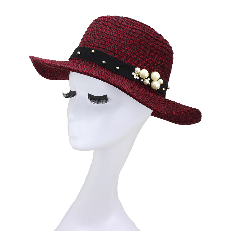 Wine red Fedoras Vogue women knitted hats with bids brand fashion design girls caps smooth fabric Fedora free shipping(China (Mainland))