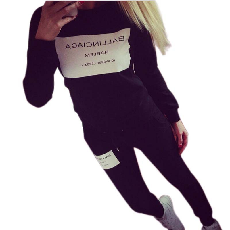 Women Tracksuits Sport Suits 2015 New Casual Letter Print Sweatshirt 2 Piece Set Black Grey White Pullover Hoodies ZLY252 - cwlsp Save Good Cothes Store store