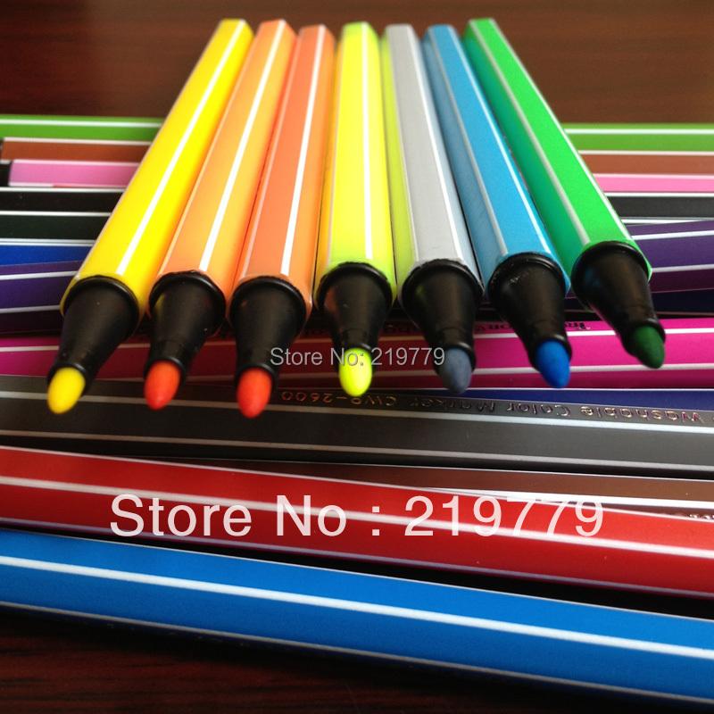 Гаджет  18 colors/box Wholesale 16.7*1cm Water Wash Water Color Pen Kids Washable Color Marker Watercolor Pens Drawing tool for Children None Офисные и Школьные принадлежности