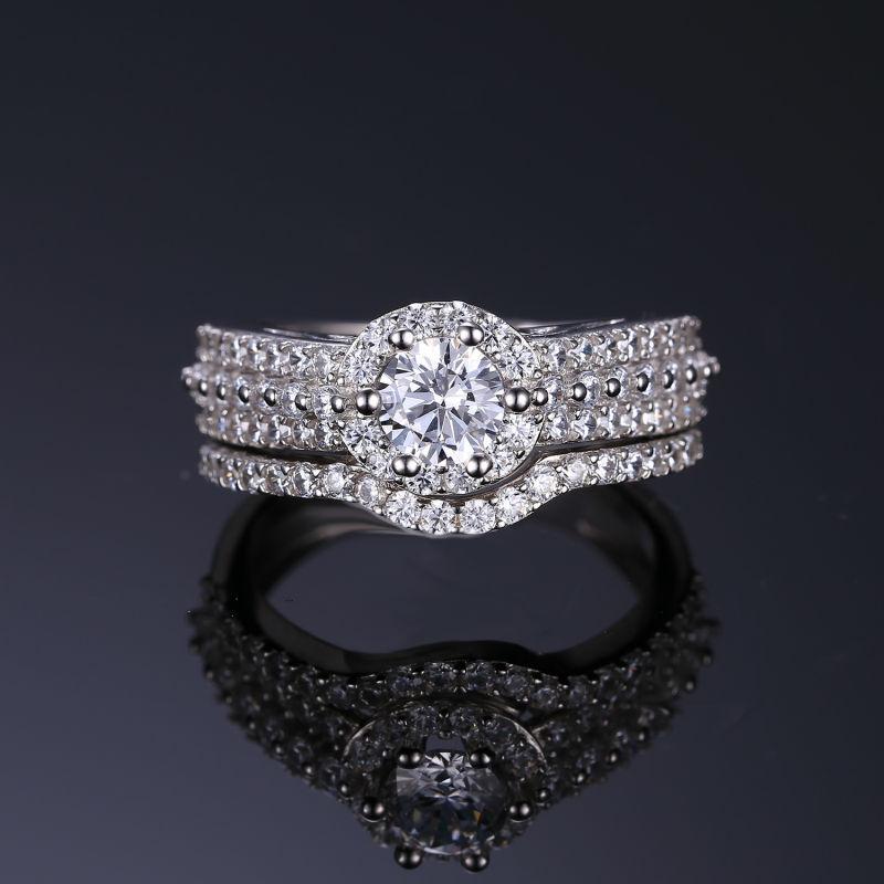 Aliexpress Buy Anniversary CZ Engagement Wedding Ring Set 925 Sterling Silver Bridal Band