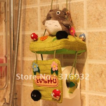 P2 Totoro swing roll towel hanging holder, plush tissue holder, 1 pc