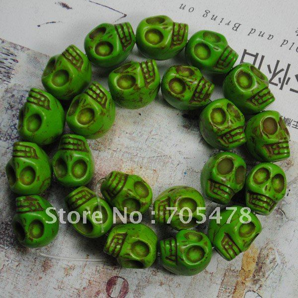 """2012 wholesale 13*18mm Green Turquoise Gemstone Skull Loose Beads 16""""L(22Pcs/strand) Fit Jewelry DIY Free Shipping"""