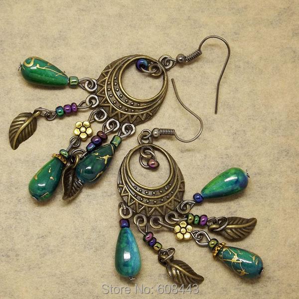 Гаджет  ER378 Ethinic Antique Bronze Bohemia Beaded Vintage Earrings For Women Lady 2015 New Jewelry Bijouterie None Ювелирные изделия и часы
