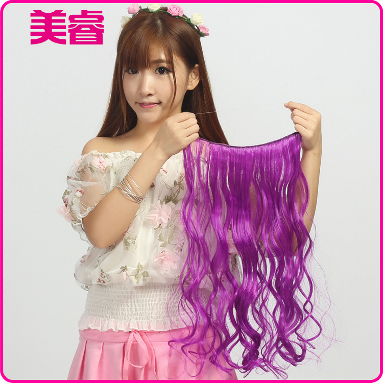 """Flip In Synthetic Heat Resistance Hair Extension Secret Miracle Hair Wire 18""""/45cm No clips 50g ,7 colours available,1pc"""