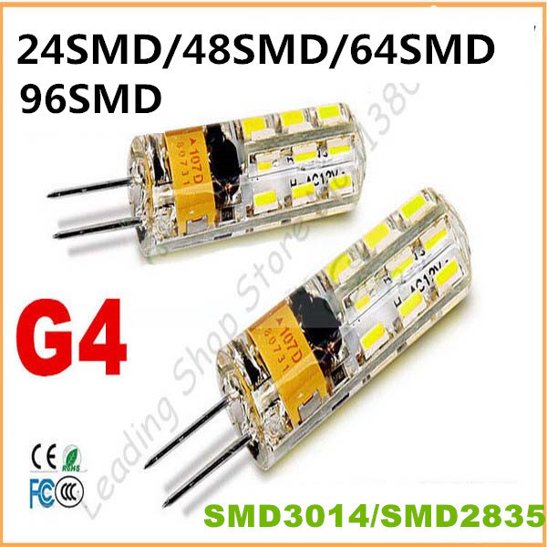 10PCS New G4 24 48 64 96SMD 2835 3014 LED Light Bulb Lamp AC DC 12V 220Vled Spotlight Silicone dimmable chandelier lamp CE ROHS(China (Mainland))