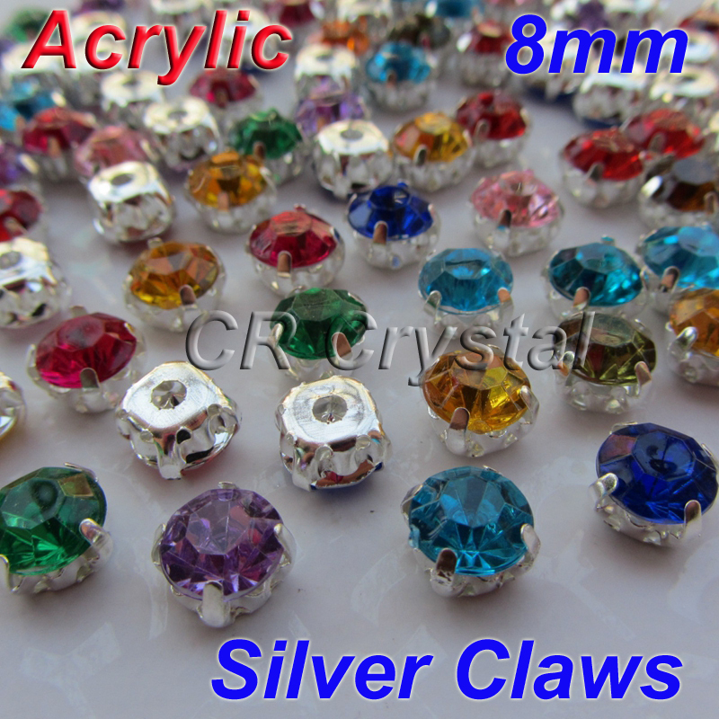 AAA 8mm 20Mix Colors Superior Taiwan Acrylic Flat Back Stones Round Shape Sew Rhinestone Silver Claws - Yiwu XinZun Crystal Accessories store