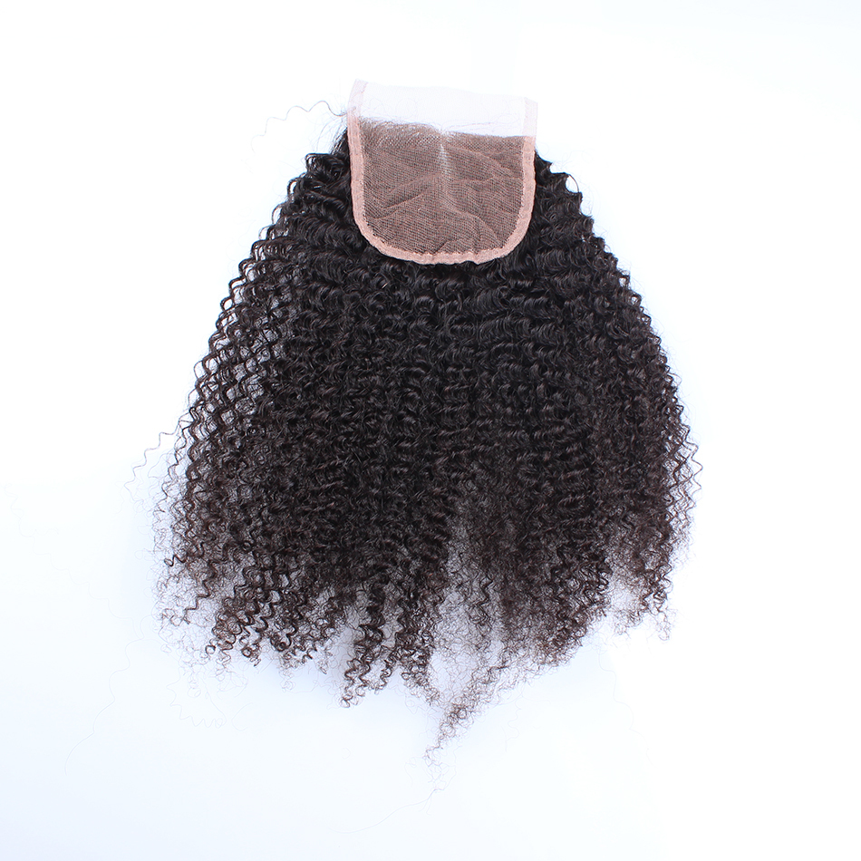 6A Peruvian Lace Closure  100% Virgin Human Hair 4X4 Afro Kinky Curly Lace Closure Bleached Knots Free Middle 3 Part Closure<br><br>Aliexpress
