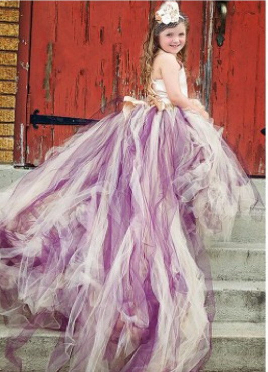 Purple And Ivory Wedding Dresses : Amazing colorful purple and ivory long train flower girl