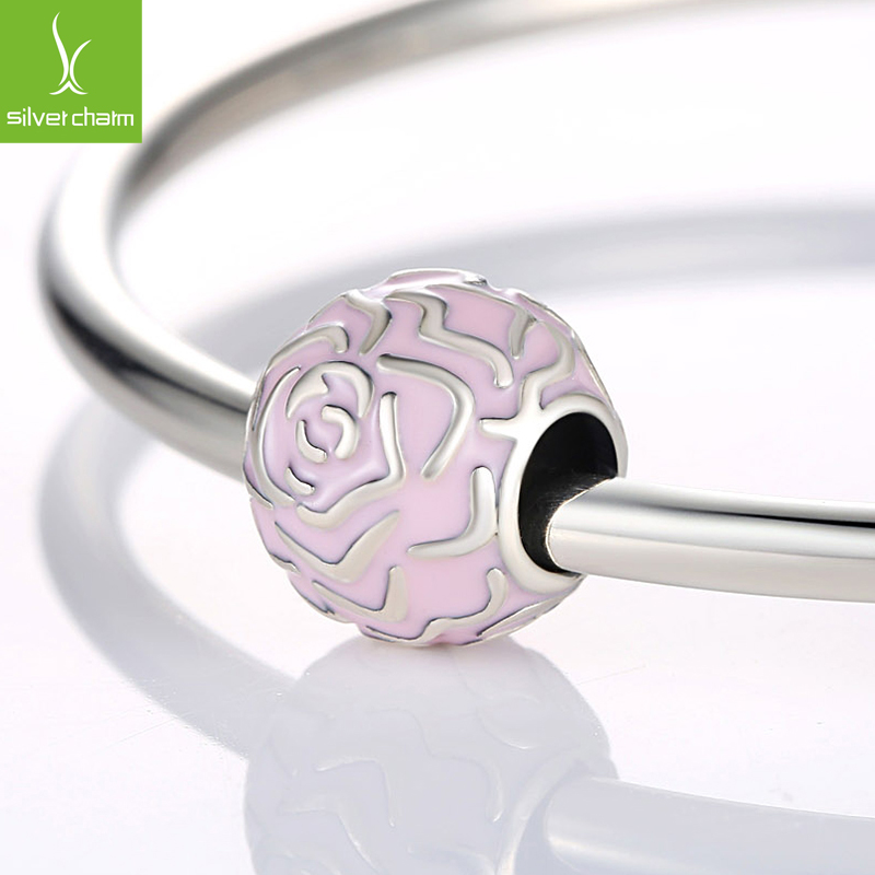 Authentic 925 Sterling Silver Charm Beads Fit Original Pandora Bracelet Pendants DIY Jewelry Rose Garden Clip with Pink Enamel(China (Mainland))