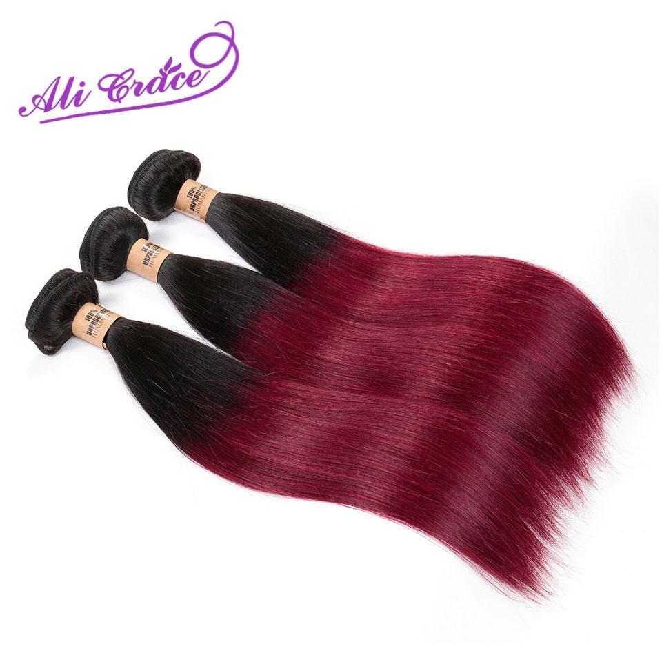 Ali Grace Omber Peruvian Virgin Hair Straight 1B/99J 3bundles Human Hair Weave Best Peruvian Hair Extensions Shedding