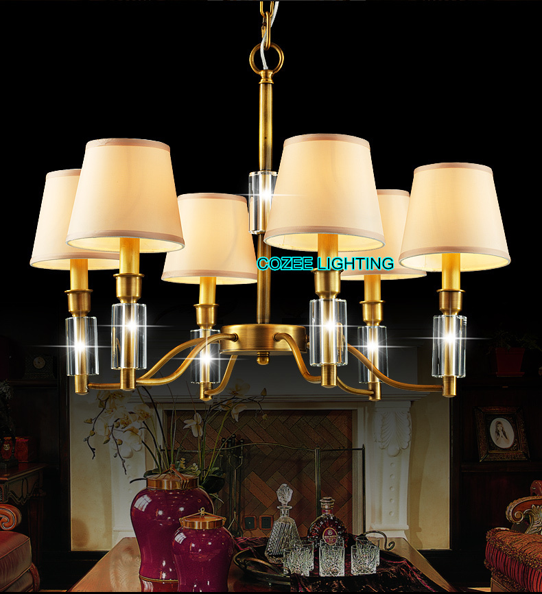 Free Shipping Antique Luxury Bronze Brass Crystal Pendant Hanging Lamps Lights Lighting For Home