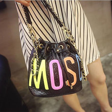 Women Colorful Letter String Bucket Bag Famous Designer Fashion Shoulder Bags Women Handbags Small Crossbody Messenger Bag Chain