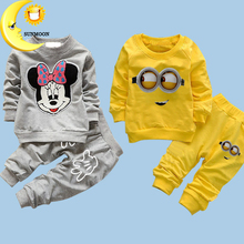 Retail 2016 baby boys girls clothing set spring cotton kids clothes cartoon minions 2pcs  suits casual baby shirts+pants sets(China (Mainland))