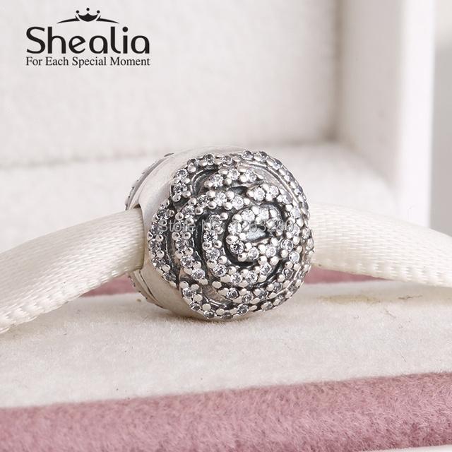 День матери вымощает роза клип бусины с cz 925 чистое серебро SHEALIA ювелирные изделия подходит своими руками подвески браслет KT031