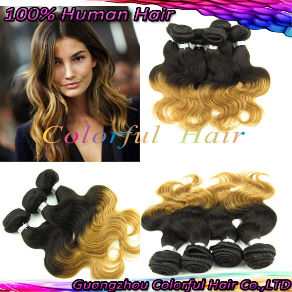 Grade 5A Body Wave Weaving Ombre T1B/30 Gold Yellow Color Hair 22 inchinches Extensions 85g/pcs - GZ Products Co.,LTD store