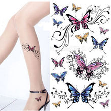 Sexy Waist Shoulder Water Transfer Tattoo Decal Waterproof Temporary Tattoo Sticker Colorful Butterfly Free Shipping