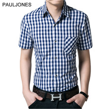 Buy 2017 New short sleeve shirt men 100% cotton Casual Brand plaid shirts men's dress shirt man summer short camisa masculino 4XL for $14.00 in AliExpress store