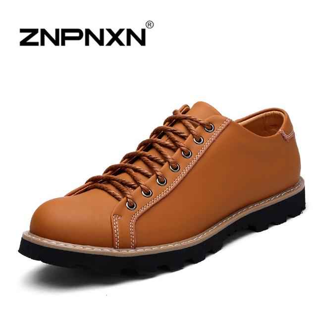 Znpnxn мужской обуви 2016 новый натуральная кожа мода мужчины свободного покроя мужчины ...
