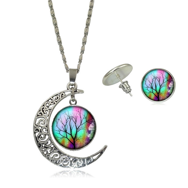 Jewelry Sets Multicolor Tree Life Glass Cabochon Pictures Pendant Silver Plated Half Moon Chain Necklace Stud Earrings Set Women(China (Mainland))