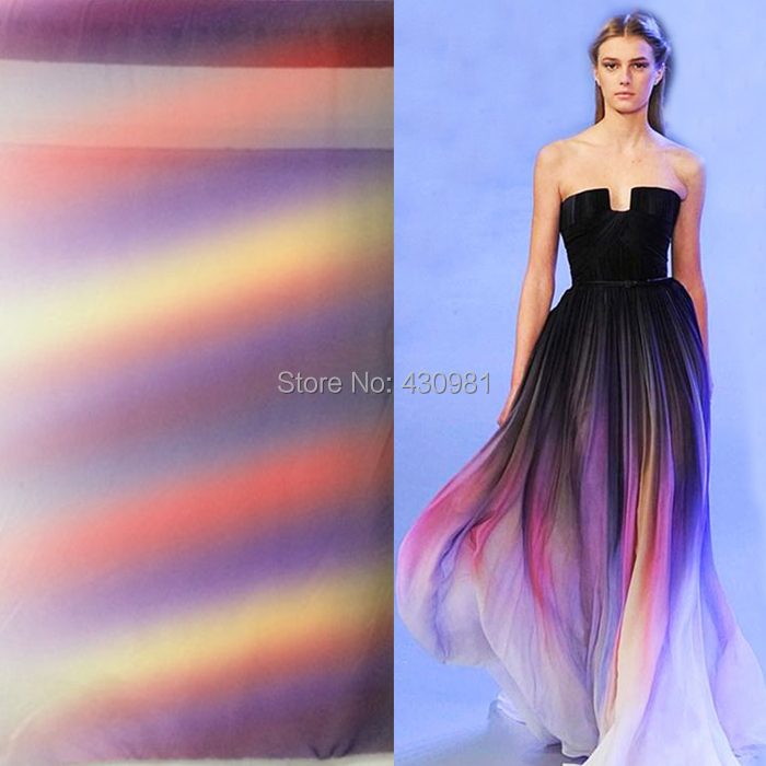 new arrive imitated silk fabric 100d chiffon colorful gowns dress material gradual chiffon fabric sheer(China (Mainland))