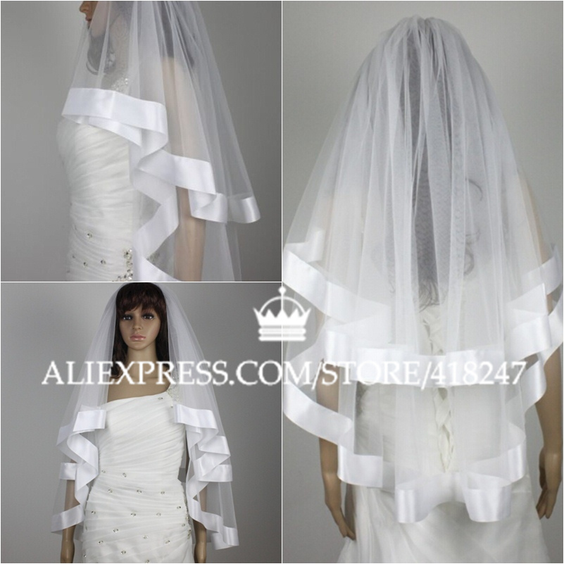 Wedding Veil White Ivory 2T 2015 New Bridal Veil Wrist Length Wide Satin Edge Velos De Novia