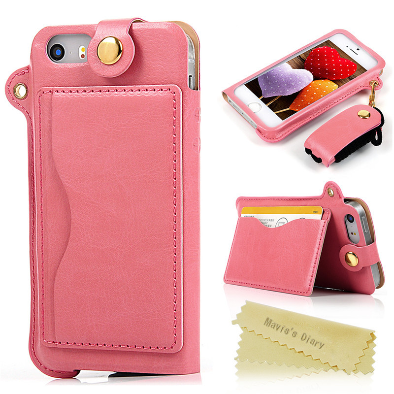 8 Color New Fashion Luxury Crazy Horse Flip Leather Case for iPhone 5 5S Cover Pouch Neck Strap Hang Rope Moblie Phone Bag Case(China (Mainland))