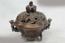 "SD 6""Chinese Folk Pure Bronze Lucky Dragon bamboo leaf incense burner(China (Mainland))"