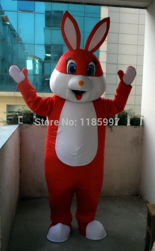 HOT SALE Classic New Red Bunny Rabbit Halloween animal Mascot Costume Fancy Dress Animal mascot costume free shipping(China (Mainland))