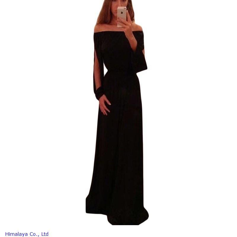 2016 Women Dresses Korean Clothes Black Slash Neck Slit Design Long Sleeve Hollow Out Dress Free ShippingÎäåæäà è àêñåññóàðû<br><br>