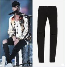 New Mens Designer Clothes Famous Brand Slp Ankle Zipper Justin Bieber Rockstar Black Distressed Ripped Skinny Fear Of God Jeans