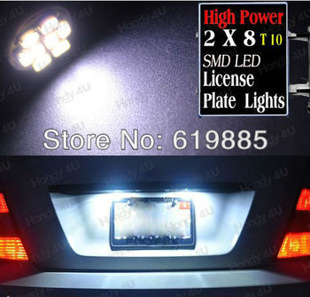 2pcs White T10 8 SMD LED Number NO. License Plate Tag Light Bulbs For Flex Edge 2009~2011 Mustang 1994~2009