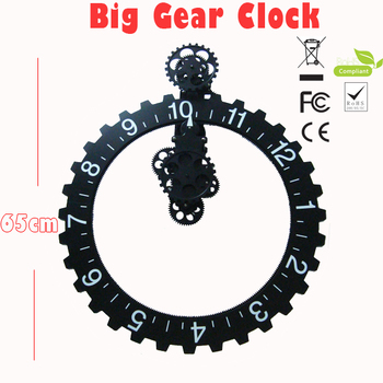 1PC 2015 New Large Size Gear Clock For Home Decoration & Modern Designs All Gear Wall Clocks Home Decor (Black & Silver)
