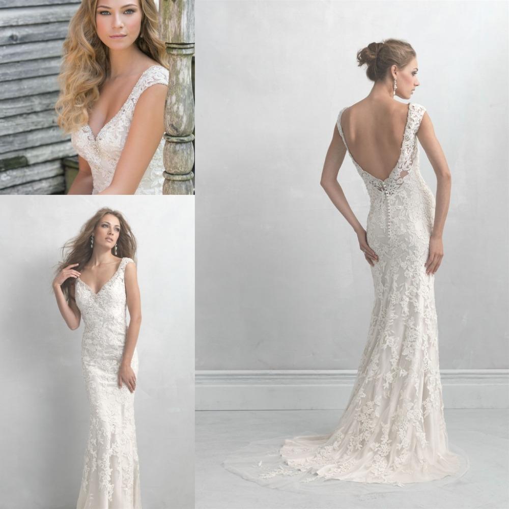 Elegant v neck open back cap sleeve mermaid lace wedding for Mermaid v neck wedding dress