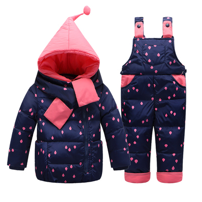 Children Boys Girls Winter Warm Down Jacket Suit Set Thick Coat+Jumpsuit Baby Clothes Set Kids Hooded Jacket With Scarf<br><br>Aliexpress